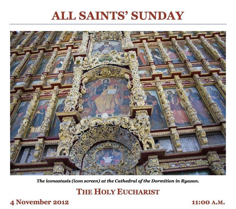 Bulletin for 4 November 2012 All Saints