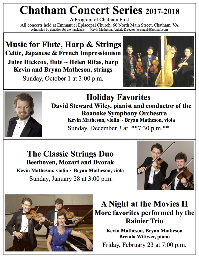 2017-18 Chatham Concert Series poster