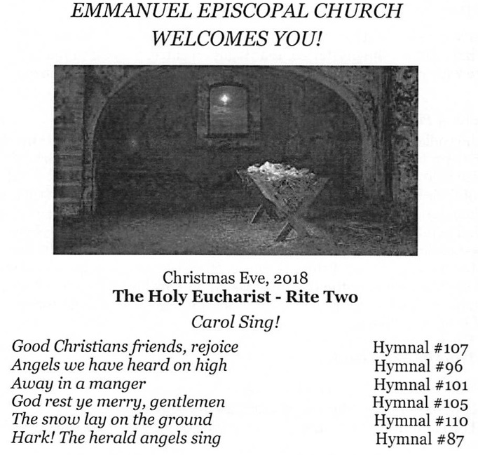 Service Bulletin for Christmas Eve 122418